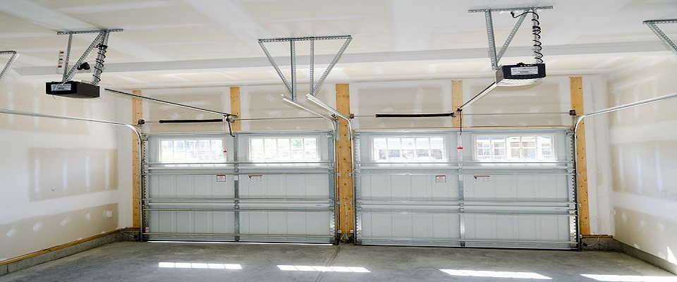 Inside view of two car garage